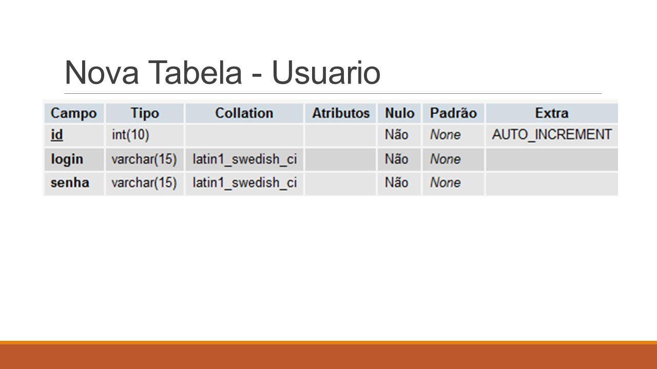 Nova Tabela - Usuario