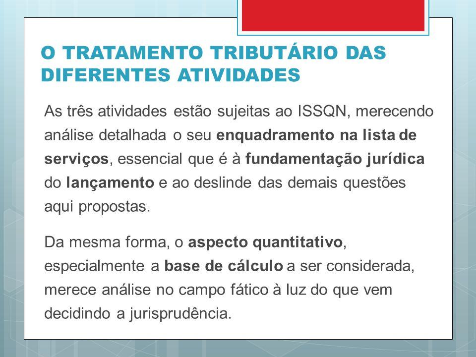 O TRATAMENTO TRIBUTÁRIO DAS DIFERENTES ATIVIDADES