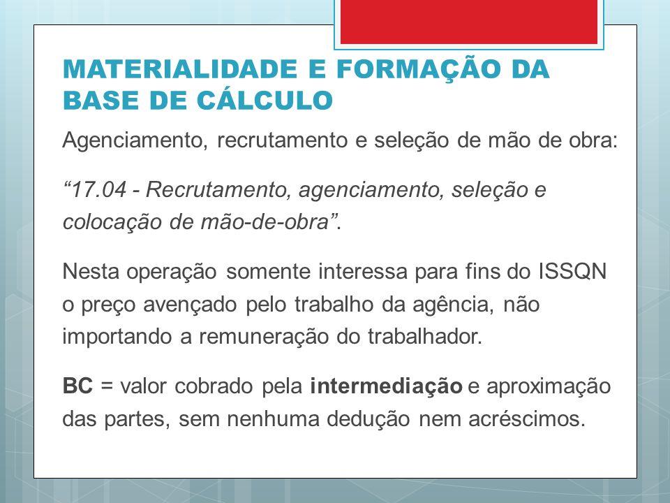 MATERIALIDADE E FORMAÇÃO DA BASE DE CÁLCULO