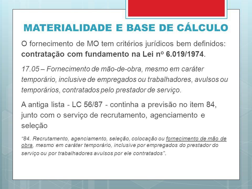 MATERIALIDADE E BASE DE CÁLCULO