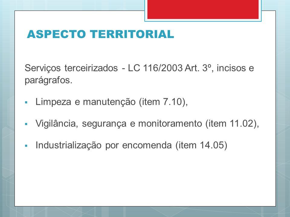 ASPECTO TERRITORIAL Serviços terceirizados - LC 116/2003 Art. 3º, incisos e parágrafos. Limpeza e manutenção (item 7.10),