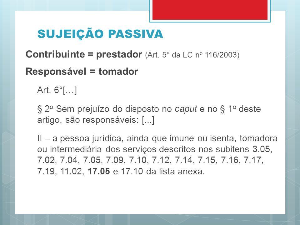 SUJEIÇÃO PASSIVA Contribuinte = prestador (Art. 5° da LC no 116/2003)
