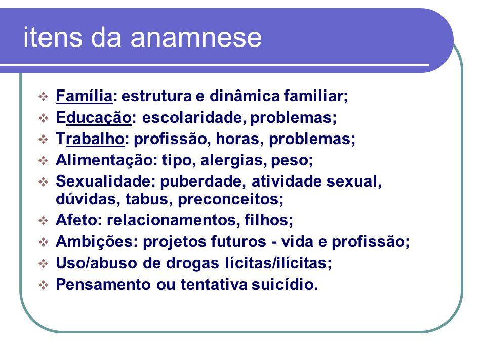 itens da anamnese Família: estrutura e dinâmica familiar;