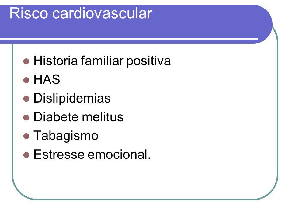 Risco cardiovascular Historia familiar positiva HAS Dislipidemias