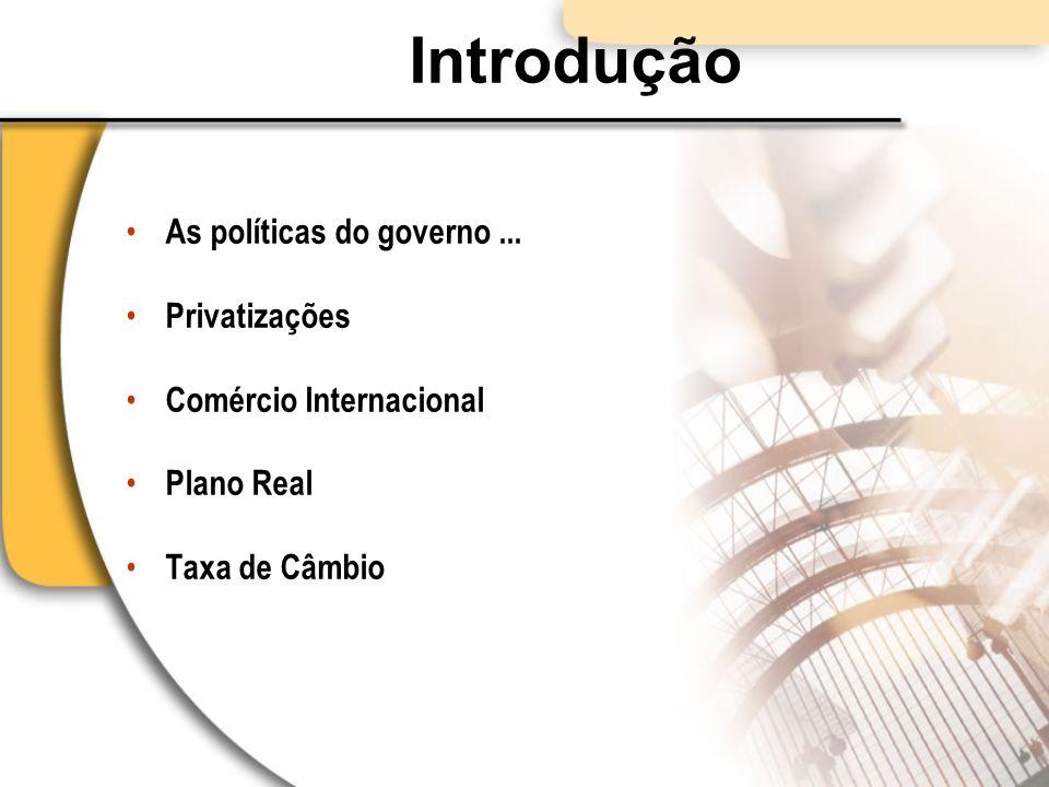 Introdução As políticas do governo ... Privatizações