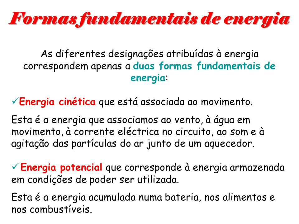 Formas fundamentais de energia