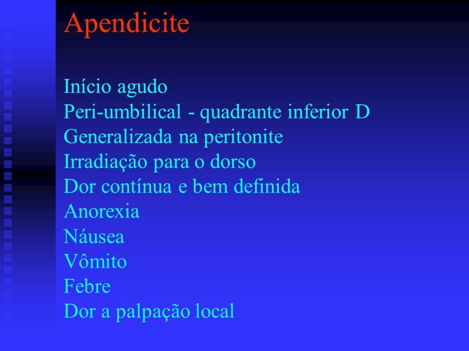 Apendicite Início agudo Peri-umbilical - quadrante inferior D Generalizada na peritonite Irradiação para o dorso Dor contínua e bem definida Anorexia Náusea Vômito Febre Dor a palpação local