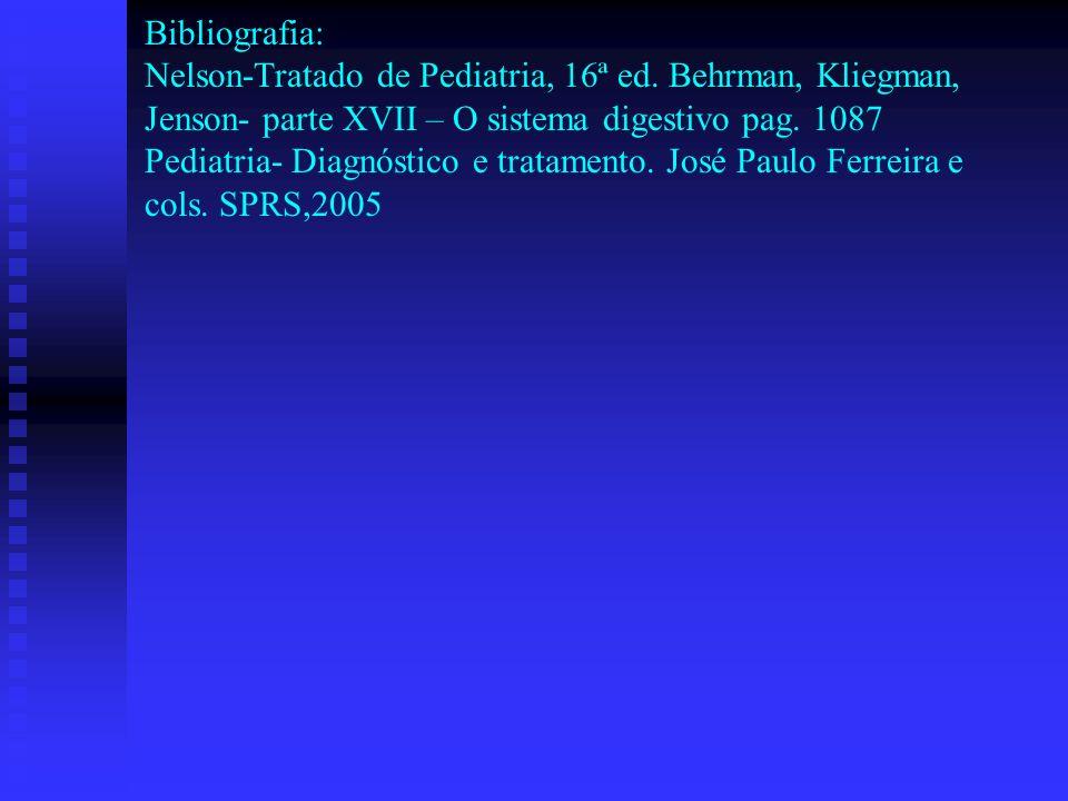 Bibliografia: Nelson-Tratado de Pediatria, 16ª ed