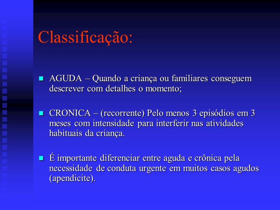 Classificação: AGUDA – Quando a criança ou familiares conseguem descrever com detalhes o momento;