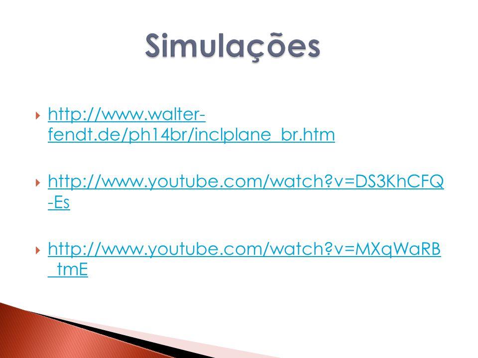 Simulações http://www.walter- fendt.de/ph14br/inclplane_br.htm