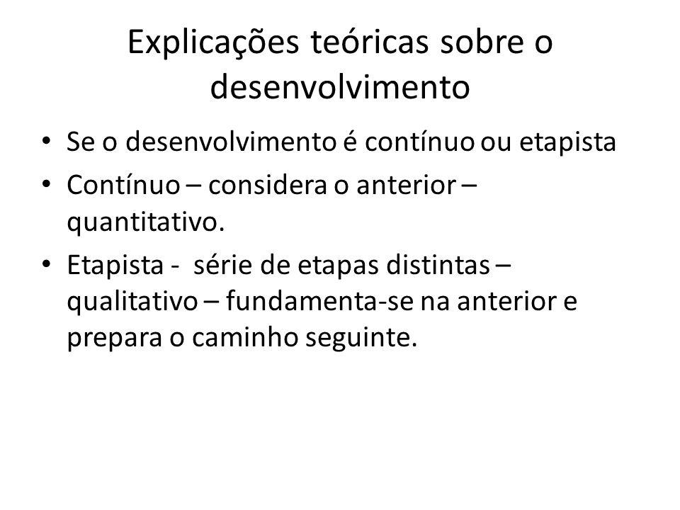 Explicações teóricas sobre o desenvolvimento
