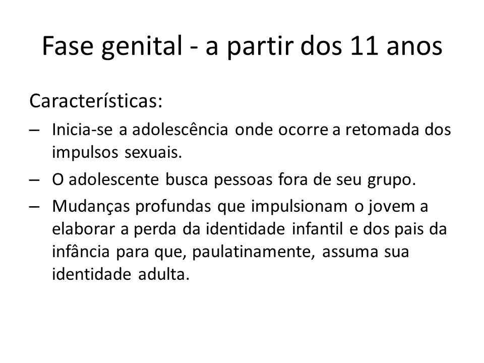 Fase genital - a partir dos 11 anos