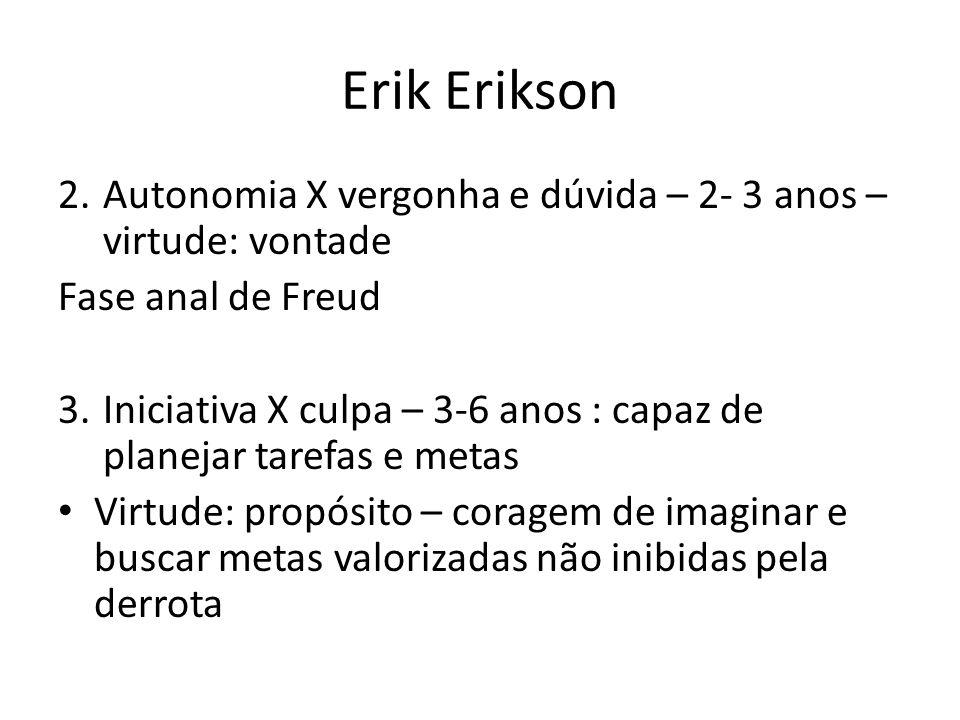 Erik Erikson Autonomia X vergonha e dúvida – 2- 3 anos –virtude: vontade. Fase anal de Freud.