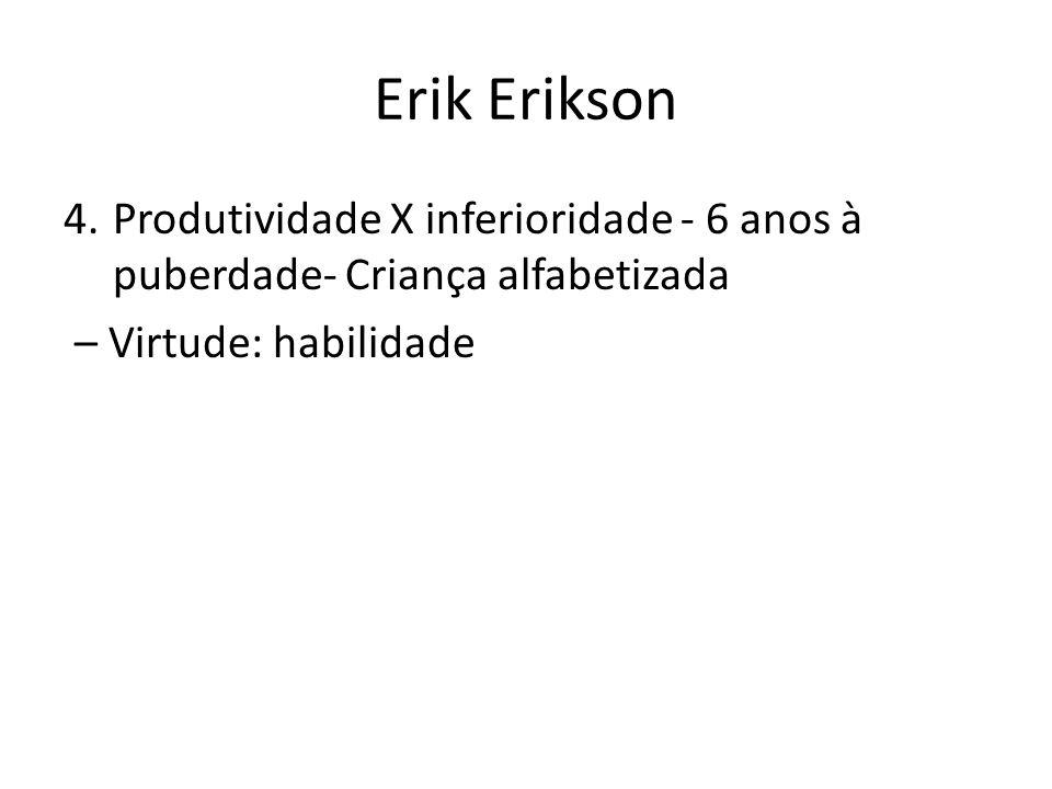 Erik Erikson Produtividade X inferioridade - 6 anos à puberdade- Criança alfabetizada.