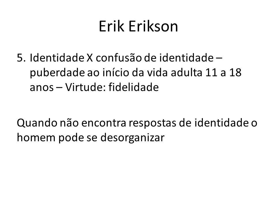 Erik Erikson Identidade X confusão de identidade – puberdade ao início da vida adulta 11 a 18 anos – Virtude: fidelidade.