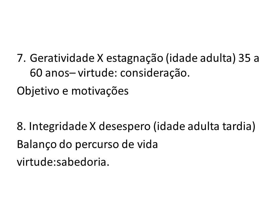 Geratividade X estagnação (idade adulta) 35 a 60 anos– virtude: consideração.