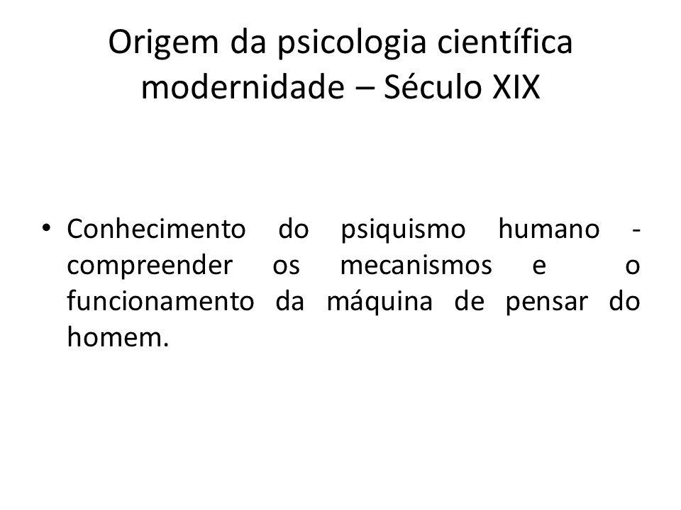 Origem da psicologia científica modernidade – Século XIX