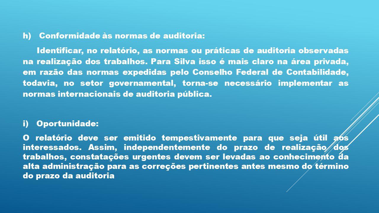 h) Conformidade às normas de auditoria: