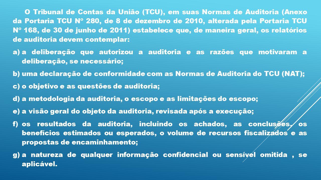 O Tribunal de Contas da União (TCU), em suas Normas de Auditoria (Anexo da Portaria TCU Nº 280, de 8 de dezembro de 2010, alterada pela Portaria TCU Nº 168, de 30 de junho de 2011) estabelece que, de maneira geral, os relatórios de auditoria devem contemplar: