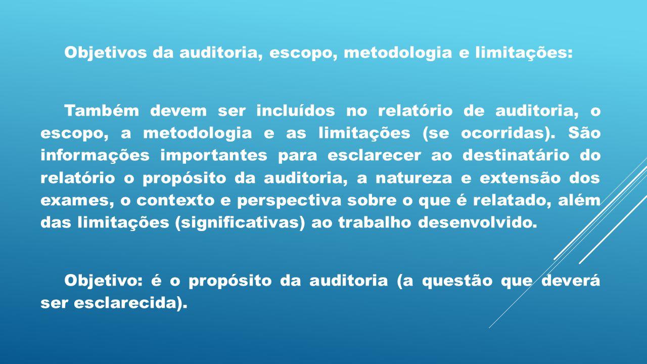 Objetivos da auditoria, escopo, metodologia e limitações: