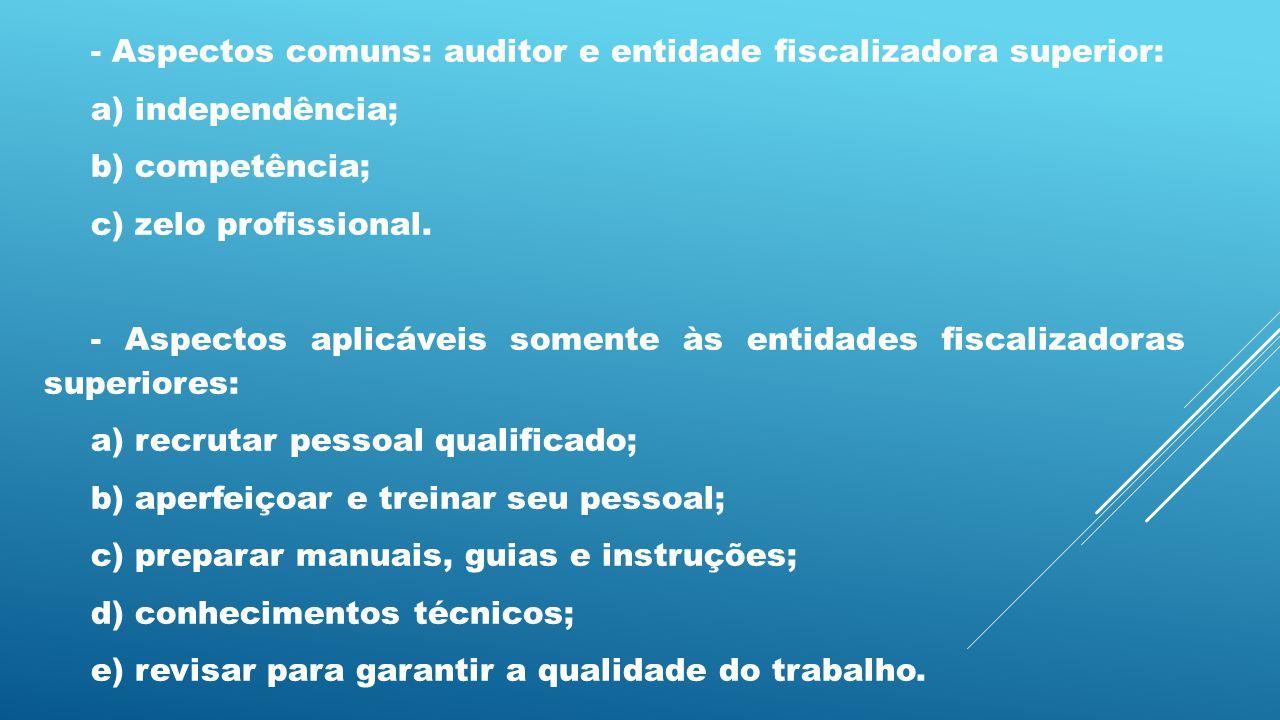 - Aspectos comuns: auditor e entidade fiscalizadora superior: