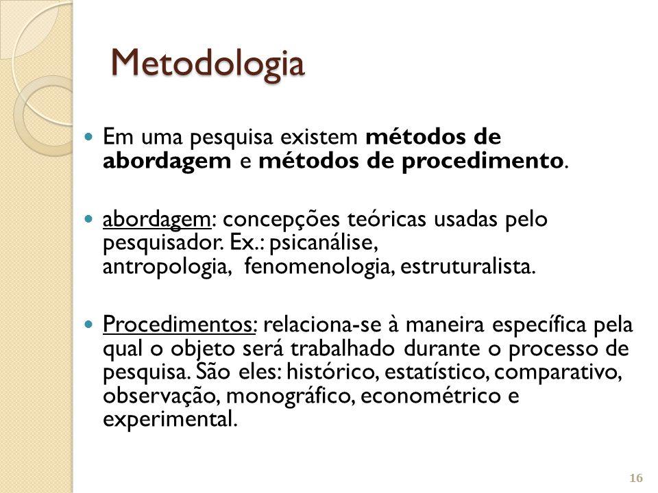 Metodologia Em uma pesquisa existem métodos de abordagem e métodos de procedimento.