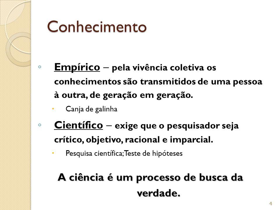 A ciência é um processo de busca da verdade.