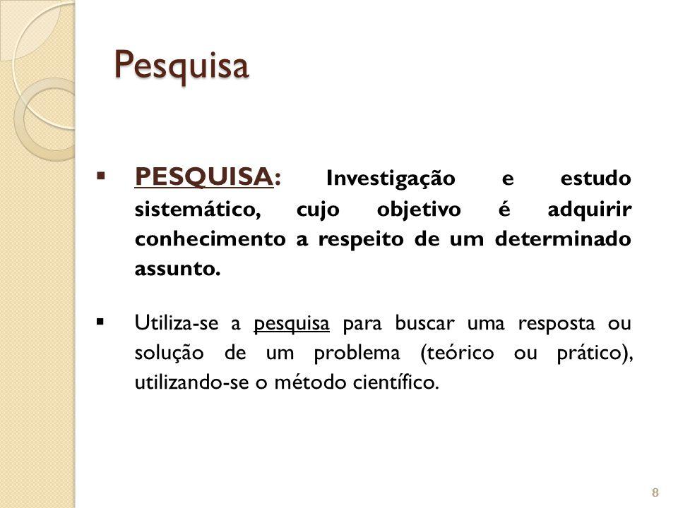 Pesquisa PESQUISA: Investigação e estudo sistemático, cujo objetivo é adquirir conhecimento a respeito de um determinado assunto.