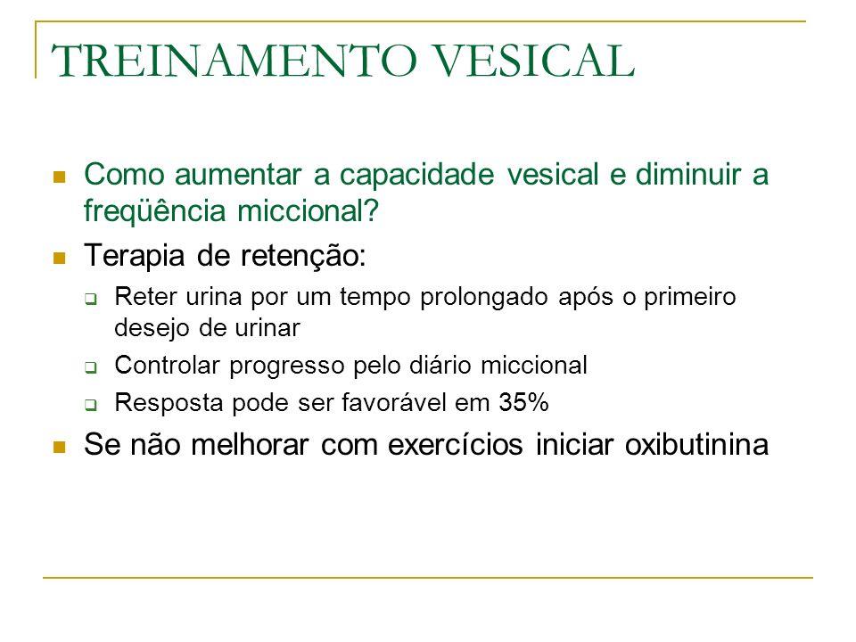 TREINAMENTO VESICAL Como aumentar a capacidade vesical e diminuir a freqüência miccional Terapia de retenção: