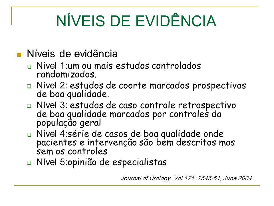 NÍVEIS DE EVIDÊNCIA Níveis de evidência