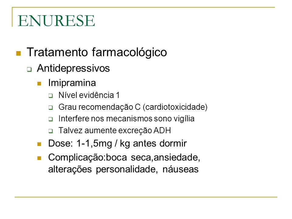 ENURESE Tratamento farmacológico Antidepressivos Imipramina