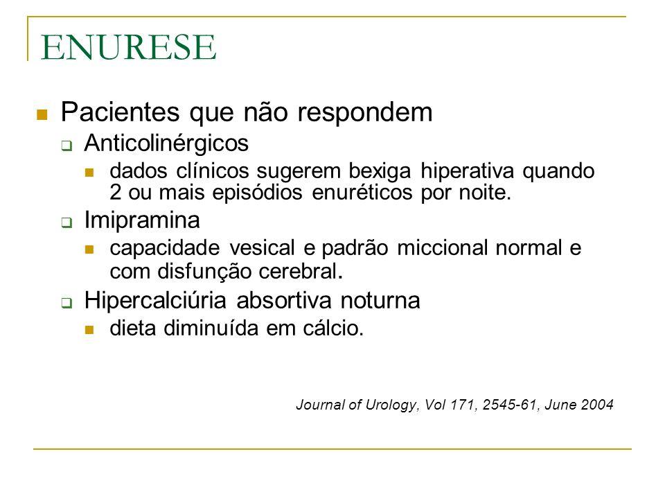 ENURESE Pacientes que não respondem Anticolinérgicos Imipramina
