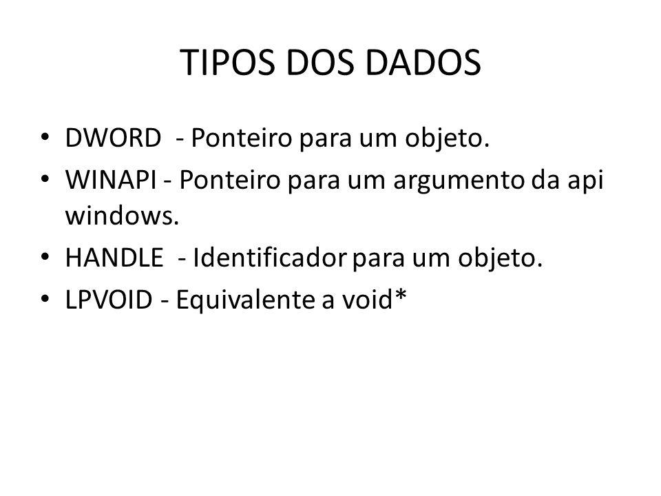 TIPOS DOS DADOS DWORD - Ponteiro para um objeto.