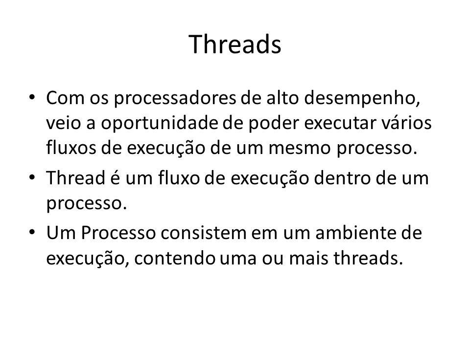 Threads Com os processadores de alto desempenho, veio a oportunidade de poder executar vários fluxos de execução de um mesmo processo.