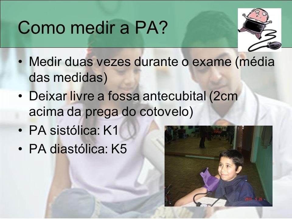 Como medir a PA Medir duas vezes durante o exame (média das medidas)
