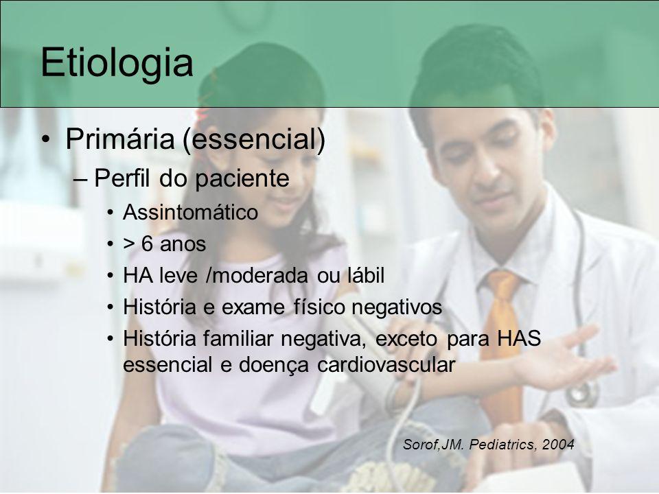 Etiologia Primária (essencial) Perfil do paciente Assintomático