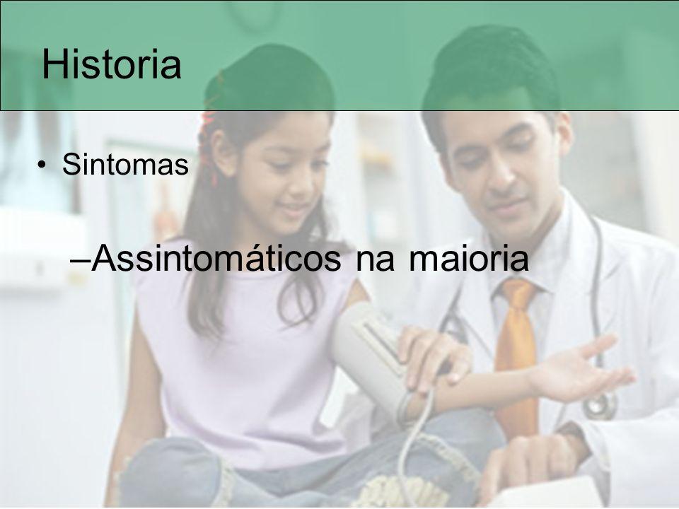Historia Sintomas Assintomáticos na maioria