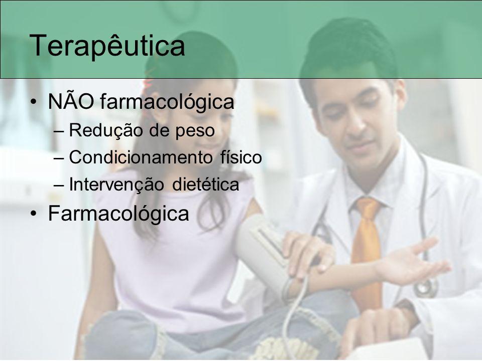 Terapêutica NÃO farmacológica Farmacológica Redução de peso