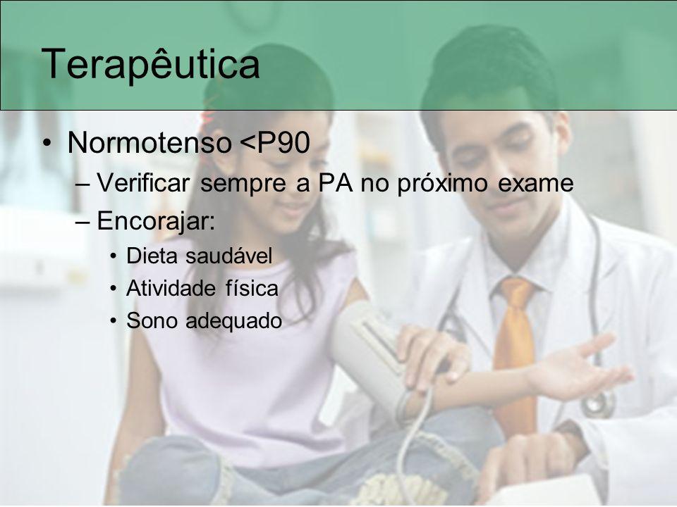 Terapêutica Normotenso <P90 Verificar sempre a PA no próximo exame