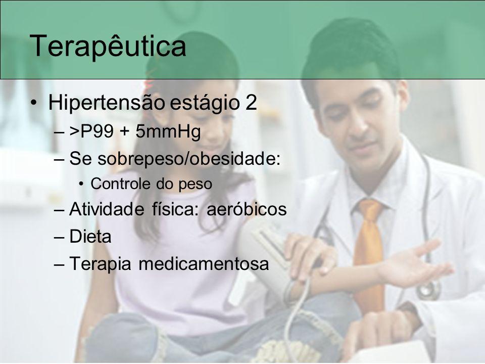 Terapêutica Hipertensão estágio 2 >P99 + 5mmHg