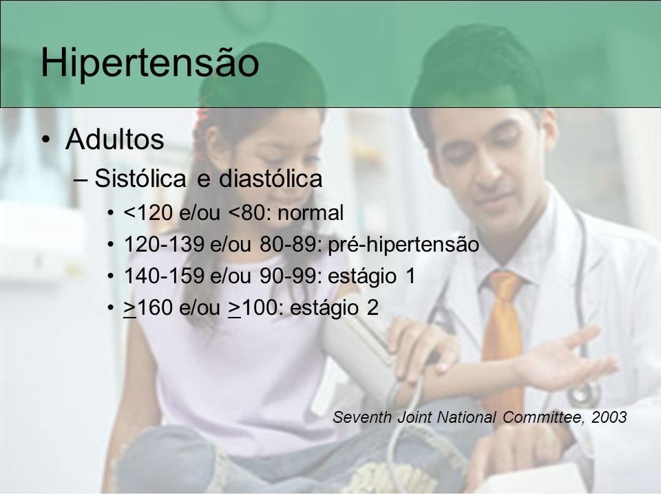 Hipertensão Adultos Sistólica e diastólica <120 e/ou <80: normal