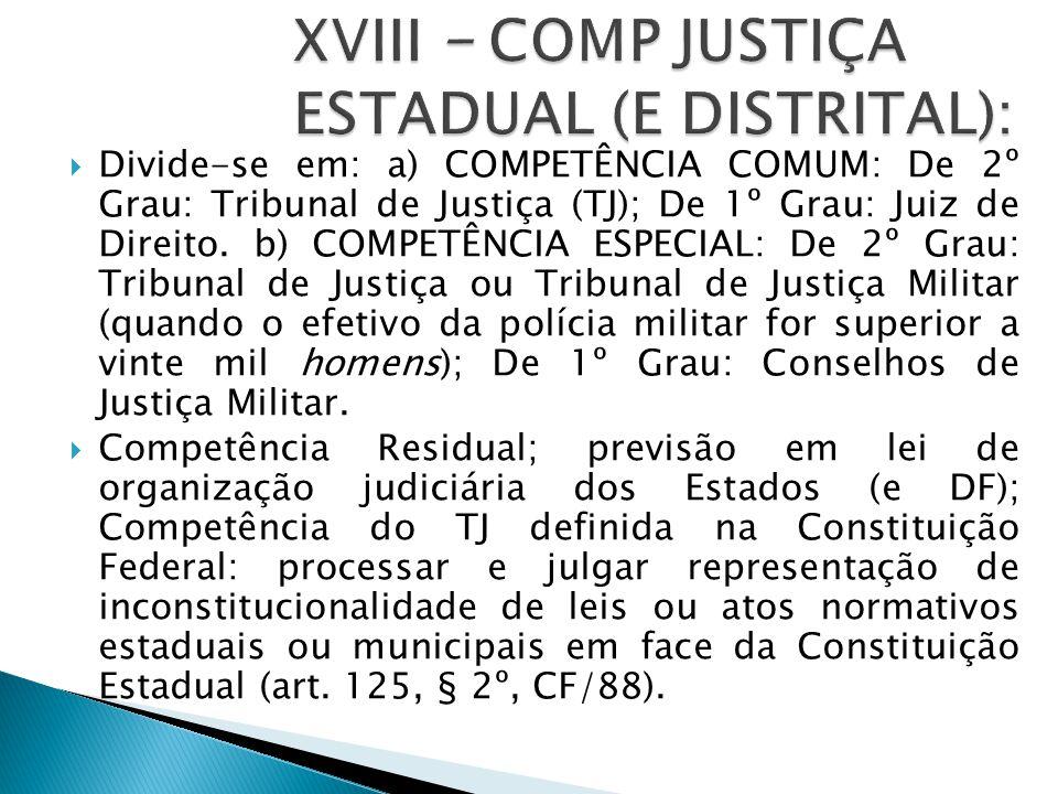XVIII – COMP JUSTIÇA ESTADUAL (E DISTRITAL):