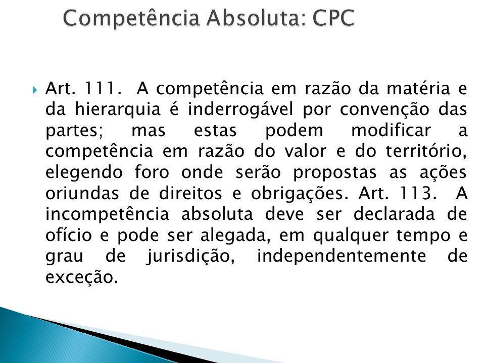 Competência Absoluta: CPC