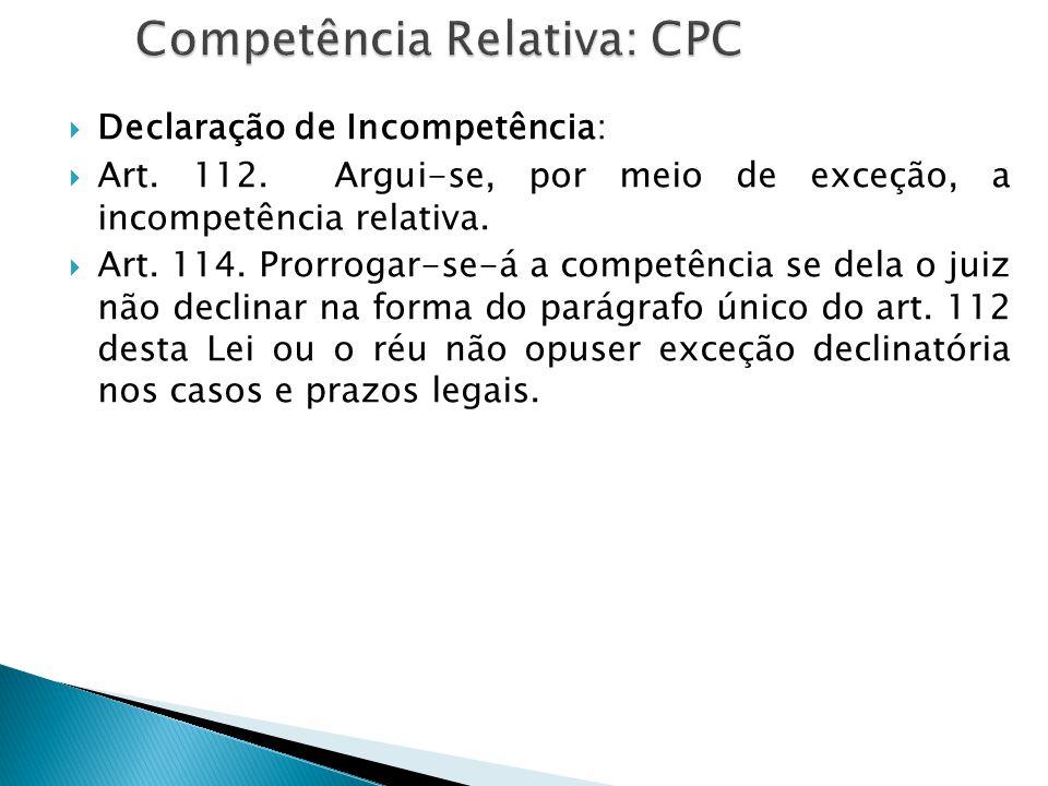 Competência Relativa: CPC