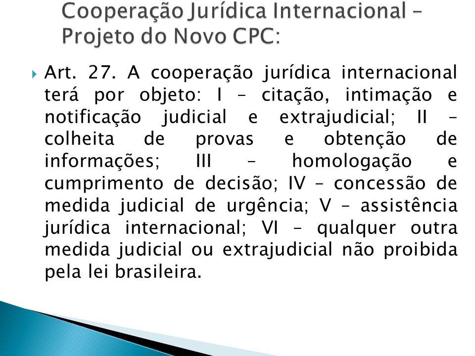 Cooperação Jurídica Internacional – Projeto do Novo CPC:
