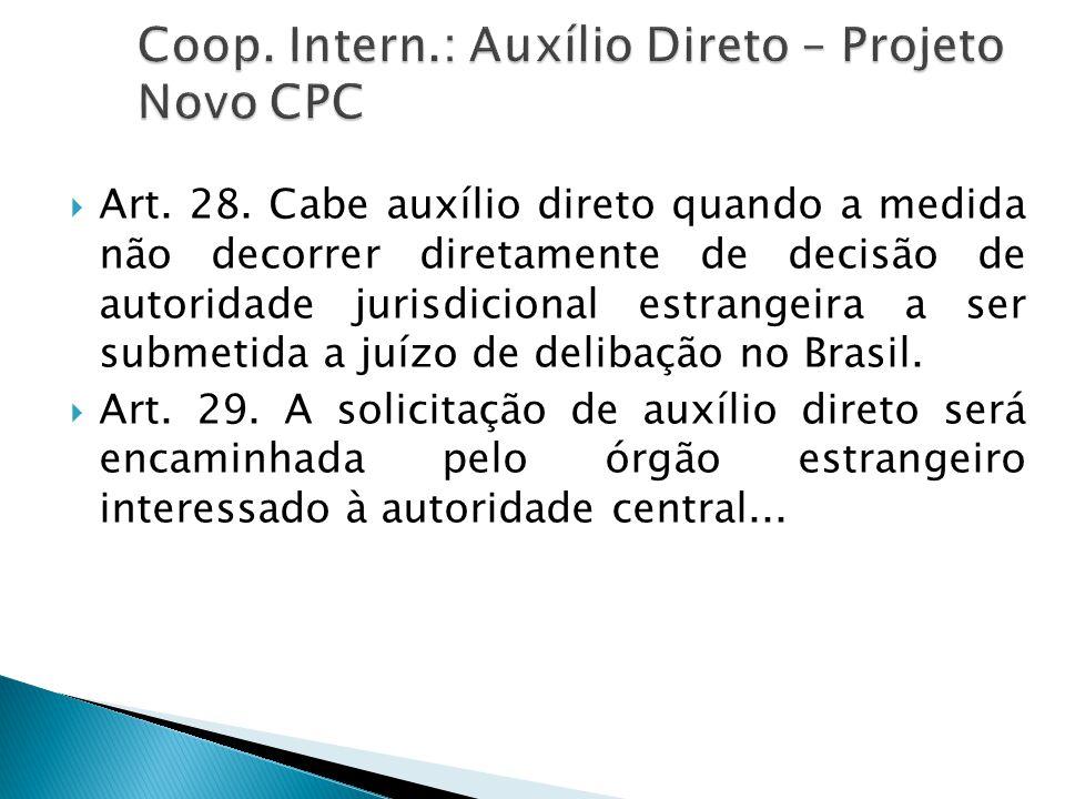 Coop. Intern.: Auxílio Direto – Projeto Novo CPC