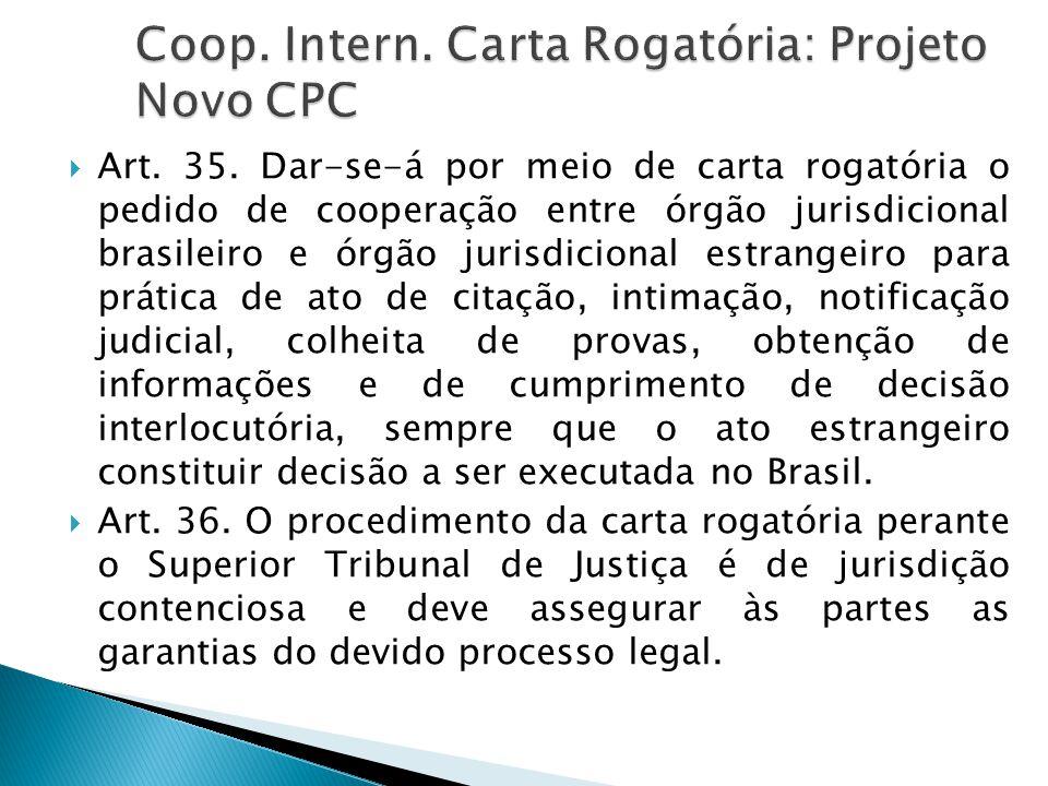 Coop. Intern. Carta Rogatória: Projeto Novo CPC