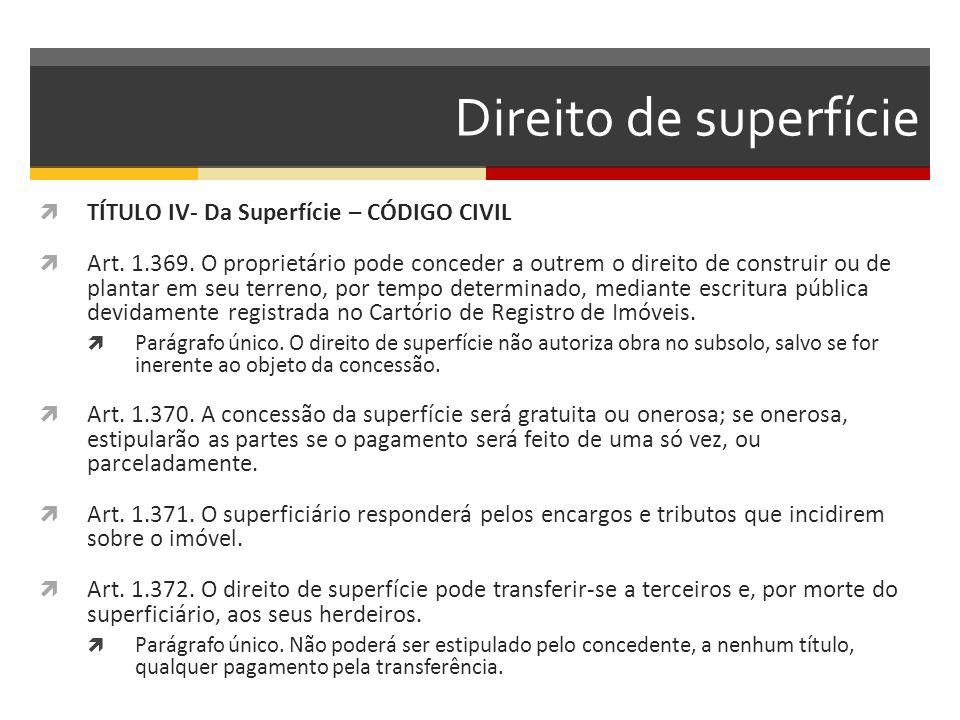 Direito de superfície TÍTULO IV- Da Superfície – CÓDIGO CIVIL
