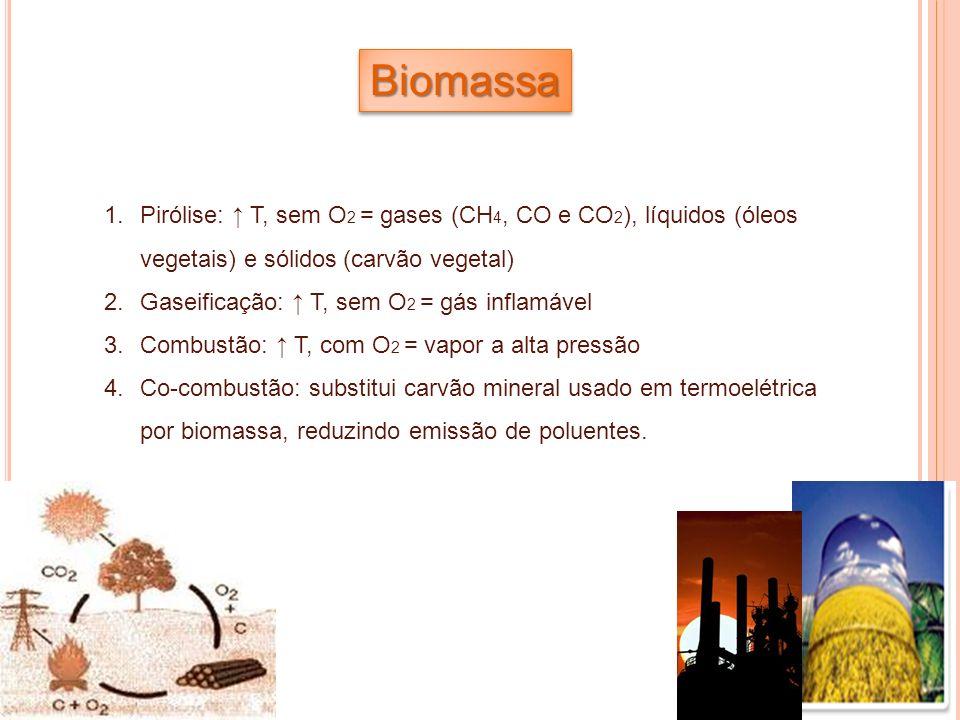 BiomassaPirólise: ↑ T, sem O2 = gases (CH4, CO e CO2), líquidos (óleos vegetais) e sólidos (carvão vegetal)