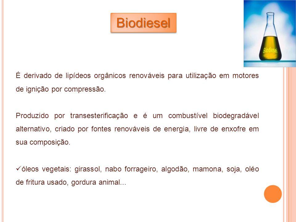Biodiesel É derivado de lipídeos orgânicos renováveis para utilização em motores de ignição por compressão.